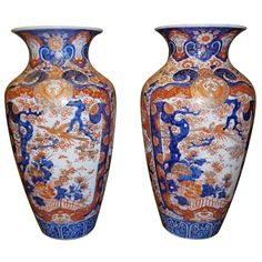 Pair of Large Imari Vases | From Gracie's unique collection of antique and modern ceramics at https://www.1stdibs.com/furniture/asian-art-furniture/ceramics/