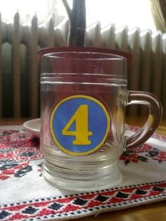 Hungarian retro glass-mug, with the ABC or 123... I don't know why, but we love it!