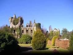 Buchanan Castle, Scotland - Buchanan Castle is a ruined country house in Stirlingshire, Scotland, located 1 mile west of the village of Drymen. Scotland Castles, Scotland Uk, Scottish Castles, Scotland Travel, Buchanan Castle, Clan Buchanan, Castle Ruins, Castle House, Palaces