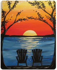 The Paint and Sip Experience - Patriot Place, MA Wine Painting, Painting & Drawing, Art Plage, Wine And Canvas, Paint And Sip, Easy Paintings, Sunset Paintings, Beach Sunset Painting, Sunset Beach