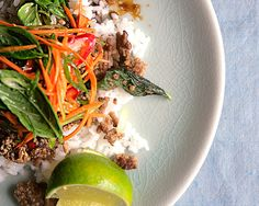 Thai Beef w Basil. Basil is wilted like a leafy green in this Thai beef stir-fry, then added raw at the end for a double dose of its aromatic flavor. Basil Recipes, Thai Recipes, Beef Recipes, Cooking Recipes, Healthy Recipes, Dinner Recipes, Healthy Meals, Alkaline Recipes, Gourmet