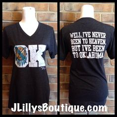"""OK"" Tee $32 www.JLillysBoutique.com (people seriously need to quit trying to charge so damn much for a basic, screen printedT-shirt. Ridiculous.)"
