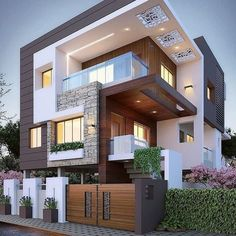 Top 10 cozy houses in the Modern style House Designs Exterior Cozy houses modern. - Top 10 cozy houses in the Modern style House Designs Exterior Cozy houses modern style Top - Bungalow Haus Design, Duplex House Design, House Front Design, House Structure Design, Architect Design House, Modern Bungalow, Style At Home, Architecture Résidentielle, Architecture Geometric