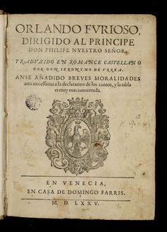 "Courtesy of the Biblioteca de Catalunya (http://www.bnc.cat): ""Orlando Furioso"" by Ludovico Ariosto (Castellà). (Public Domain) http://www.europeana.eu/portal/record/91963/E0388BF9E467D13D50B15281B8FCC4AE092B4D67.html #worldbookday #oldbooks #books #bookcovers #beautifulbookcovers #readbooks #OrlandoFurioso"