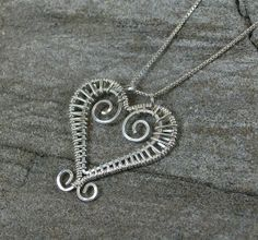 Handmade Sterling Silver Wire Wrapped Heart by MystikCritterZ, $26.00