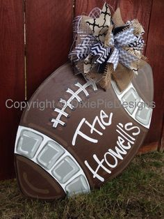 Football door hanger, Gameday Door Hanger, Football Wreath, Gameday Sign, MSU Football, Ole Miss Football, LSU football, Roll Tide Football by dixiepiedesigns on Etsy