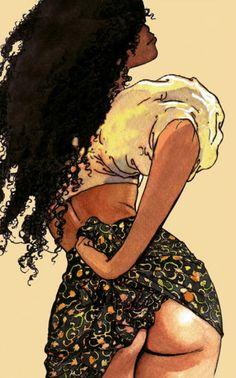 Natural Hair Art, guess who Arte Dope, Dope Art, African American Art, African Art, Natural Hair Art, Natural Hair Styles, Milo Manara Art, Art Afro Au Naturel, Caricature Art
