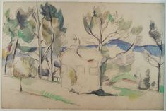 Paul Cézanne 1887-90c Hunting Cabin between Trees in Provence graphite and watercolour 31 x 47 cm Museum Boijmans Van Beuningen, Rotterdam