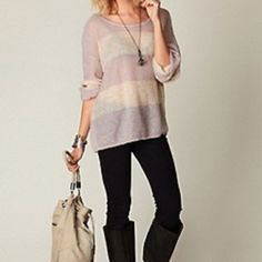 Free People Wide Stripe Sweater Never worn. Free People Wide Stripe Sweater. Oversized. Size S. Free People Sweaters