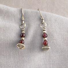 Garnet and Sterling Silver Earrings   SER62