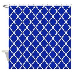 Brilliant Blue Moroccan Lattice Shower Curtain on CafePress.com