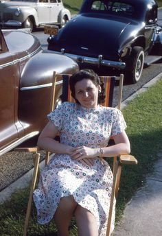 "Vintage Red Border Kodachrome Slide ""Pretty Woman in a Dotted Dress"" 1946..1940s Kodachrome..Red Border Kodachrome Slide by iloveyoumorephotos on Etsy"