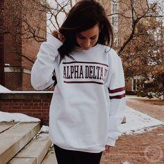 Alpha Delta Pi | ADPi | Varsity Sweatshirt Design | South by Sea | Greek Tee Shirts | Greek Tank Tops | Custom Apparel Design | Custom Greek Apparel | Sorority Tee Shirts | Sorority Tanks | Sorority Shirt Designs