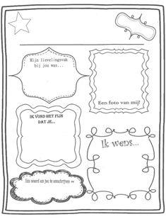 Als afscheidscadeautje maken de kinderen een boekje van dit werkblad voor de juf/meneer van school. (Juf LizLiz)