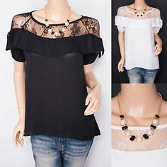 Free Necklace Chiffon Floral Lace Short Sleeves Top Blouse