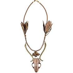 Proenza Schouler Women's Long Skull Centerpiece Necklace ($1,799) ❤ liked on Polyvore featuring jewelry, necklaces, brown, skull pendant, brown necklace, anchor pendant, flower necklace and skull jewelry