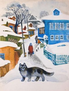 Winter cat painting. Leonid Kartashov