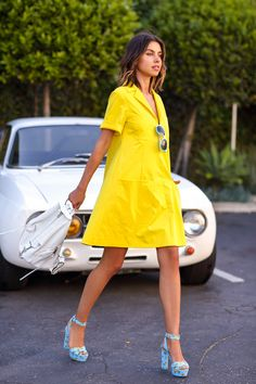 I always love a good yellow dress, plus those heels have bananas on them!