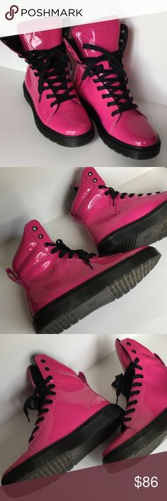 Dr. Martens Hot Pink Boots  Dr. Martens Hot Pink Boots. New without tags. NWOT tags. Never worn. Purchased with little line on back of left boot. See close picture showing size to view. Size US 9. Dr. Martens Shoes Lace Up Boots
