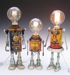 tin can robot lights- so cute!