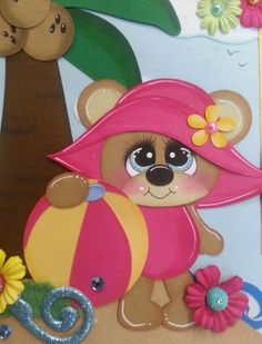 TWAG ROSA summer tear bear one page premade scrapbook pages paper piecing