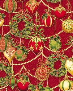Holiday Flourish 8 - Ornament Garlands - Lacquer Red/Gold