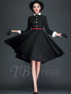 Tbdress.com offers high quality Single-Breasted Plain A-Line Women's Day Dress Day Dresses unit price of $ 8.99.