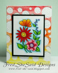 Doodled Floral with WaterColored Circles Stencil2 - love the bright colors!   makes me happy