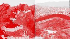 """Here is the actual difference between the would-be wall of the U.S and the existing Chinese Heritage """"The Great Wall of China"""". #Trumpwall #borderwall"""