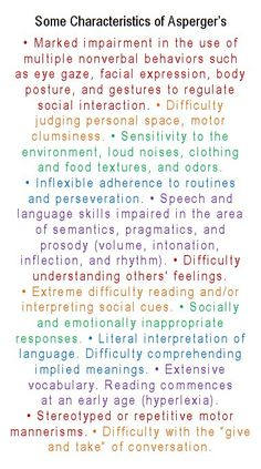 Some Characteristics of Asperger's. . . Wow, this is SOOOOO Wade!