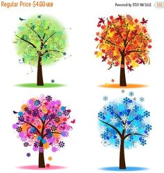 LABOR DAY SALE Four Seasons Trees Clipart Clip Art, Spring Summer Winter Fall…