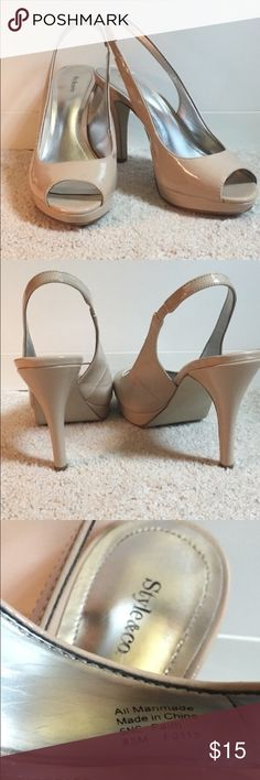 Style & Co Open Toed Heels Beige Style & Co Open Toed Heels- worn 2 times. 4.5 inch heel. Size 8.5 but has a smaller fit (size 8 should fit well). Finish stain on the inside of the right shoe. Style & Co Shoes Heels