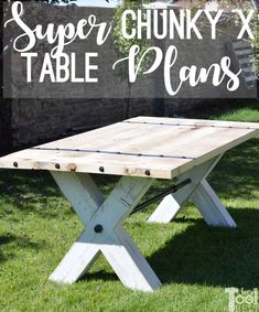 Fun Woodworking Projects Super Chunky X Table free plans - build a table with some wow!Fun Woodworking Projects Super Chunky X Table free plans - build a table with some wow! Woodworking Furniture Plans, Easy Woodworking Projects, Popular Woodworking, Woodworking Wood, Wood Projects, Woodworking Equipment, Woodworking Joints, Learn Woodworking, Woodworking Magazine