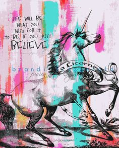 Unicorn Art Print. GoodThinkInc.com discount code: 10% off: UNICORNSIS10