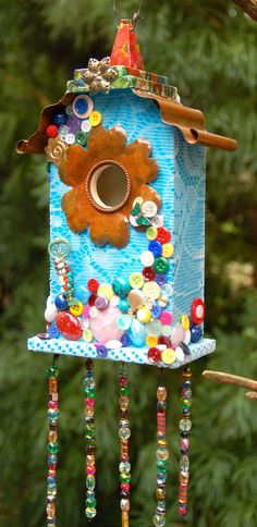 Multi Color Buttons and Lace Mosaic Birdhouse by TheVelvetRobyn, $50.00