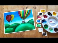 Acrylic Painting Timelapse For Beginners - Hot Air Balloon Balloon Painting, Using Acrylic Paint, Hot Air Balloon, Watercolor Paper, Art Tutorials, Balloons, Make It Yourself, Acrylics, Frame