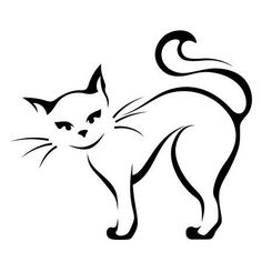 Vector Illustration Of A Graceful Cat On A Black Background. Royalty Free Cliparts, Vectors, And Stock Illustration. Cat Drawing, Line Drawing, Cat Outline, Cat Tattoo Designs, Cat Quilt, Black And White Illustration, Cat Design, Easy Drawings, Cat Art
