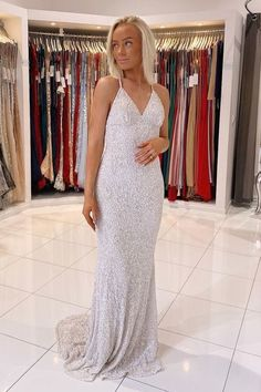 Cross Back Mermaid Silver Sequined Evening Dress vp7317 by VestidosProm, $147.07 USD