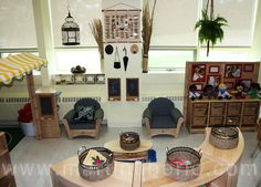Welcome sitting area-love the little chalkboards Play Spaces, Learning Spaces, Learning Environments, Kid Spaces, Classroom Environment, Classroom Setup, Classroom Design, Childcare Rooms, Reggio Inspired Classrooms