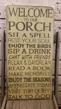 Porch Rules sign CUSTOM 16x30 Front Porch rules Back Porch rules shabby chic, Vintage Style Typography Word Art great gift for mom