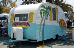 1954 Shasta Trailer, Hand Painted Tropical Palm Tree, Beach Umbrella, Flowers Box and Shutters :: Propane Cover!