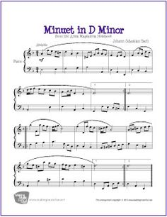 Minuet in D Minor (Bach) | Free Sheet Music for Piano - http://makingmusicfun.net/htm/f_printit_free_printable_sheet_music/minuet-in-d-minor-piano.htm