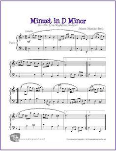 Minuet in D Minor (Bach) | Free Sheet Music for Piano - http://makingmusicfun.net/htm/f_printit_free_printable_sheet_music/minuet-in-d-minor-piano.htm
