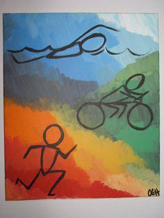 Triathlon Acrylic Painting by BlueKudzuKrafts on Etsy, $37.00