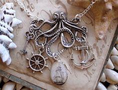 The Kraken in Silver - Pirate Ship - Octopus Necklace - Anchor - Captains Wheel - Treasure Key - Antique Nautical Print Charm Necklace