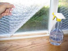 Insulate your camper windows during the cold winter months with bubble wrap.