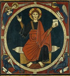 The Museu Episcopal de Vic also keeps the crenelation and the front beam of this baldachin. It comes from the parish church of Sant Martí de Tost (Ribera d. Sainte Cecile, Christ Pantocrator, Romanesque Art, Art Roman, Christ The King, Art Brut, Medieval Art, Mural Painting, Tempera