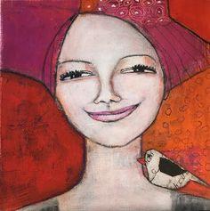 Monica Blom Art: Fortsätter med små porträtt i akryl och collage