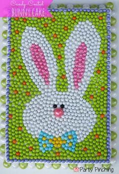 20+ Creative DIY Easter Bunny Cake Recipes --> DIY Candy-Coated Easter Bunny Cake #food #recipe #Easter #bunny_cake