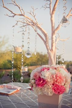 Crystal tree with pink floral bouquet